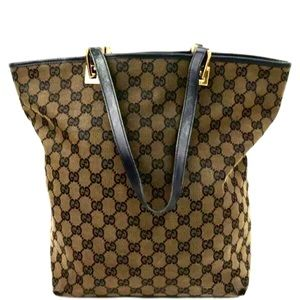 🌻💯 Gucci Tote Bag GG Brown Canvas Shoulder